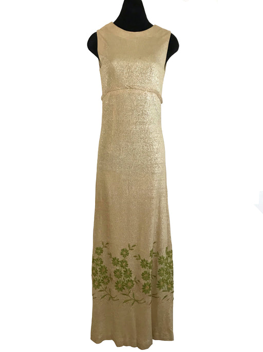 60s Gold Lurex Metallic Glitz Glam MOD Dress, Green Embroidered Grecian Column Dress Ball Gown, Sheath Slip Golden Shimmer Prom Party Dress