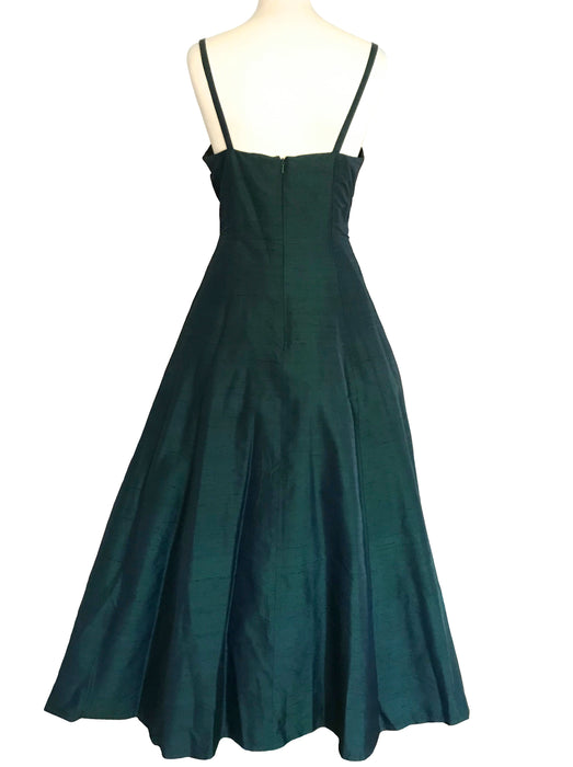 80s does 50s 100% Silk Monsoon Twilight Bottle Forest Pine Green Spaghetti Straps Occasion Evening Prom Xmas Party Swing Dress Ball Gown S-M