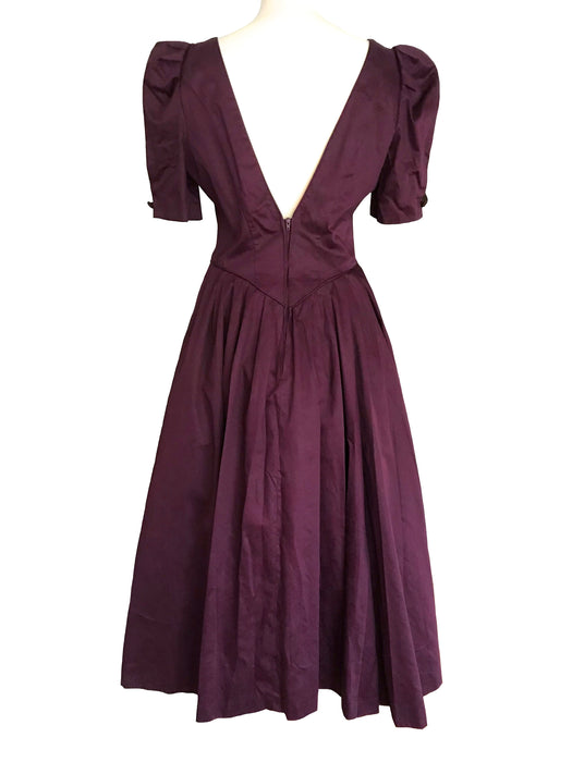 80s LAURA ASHLEY 100% Glazed Damask Cotton Victorian Edwardian Mulberry Wine Occasion Evening Prom Xmas Party Full Swing Dress Ball Gown M