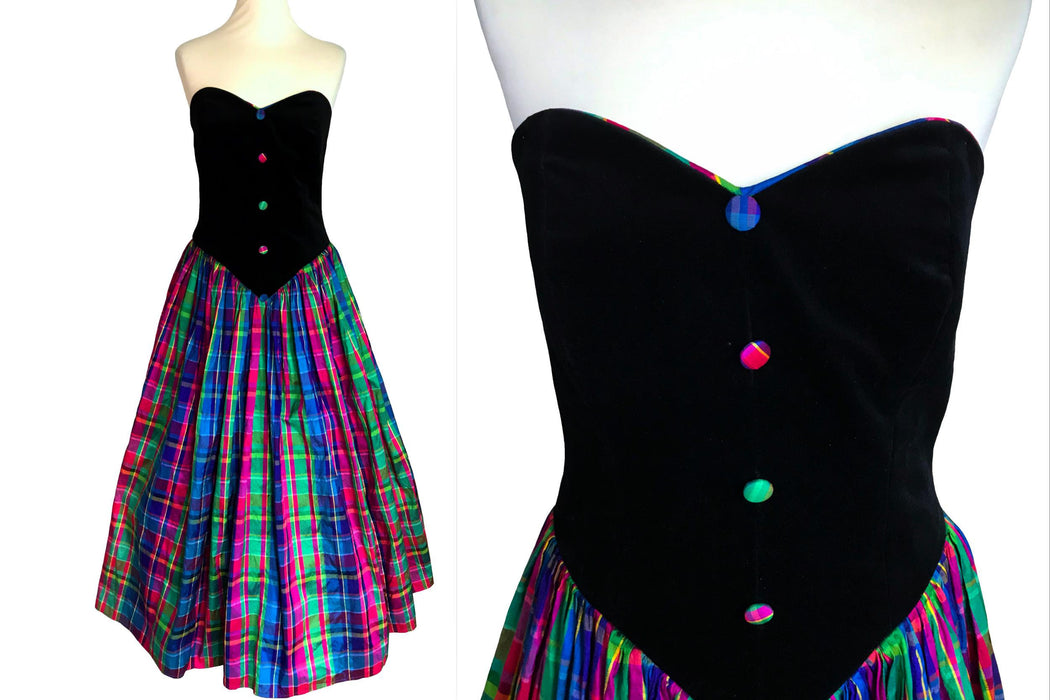80s Black Velvet & Silk Tartan Plaid Ball Gown, Strapless Corset Check Sweetheart Wedding Prom Mardi Gras Carnival Pageant Full Circle Dress