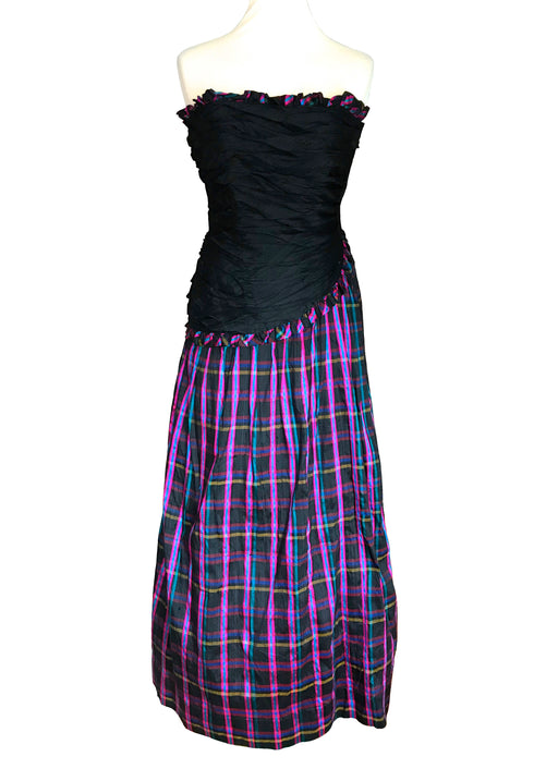 60s-70s Jean Allen Silk Tartan Plaid Ball Gown, Strapless Frill Ruched Bodice Purple Check Wedding Mardi Gras Carnival Steampunk Dress XXS