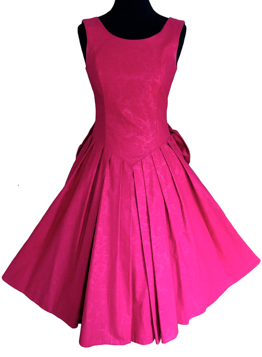 80s LAURA ASHLEY Damask Cotton Hot Pink Dress, Victorian Edwardian Occasion Evening Prom Party Full Swing Open Back Big Bow Dress Ball Gown