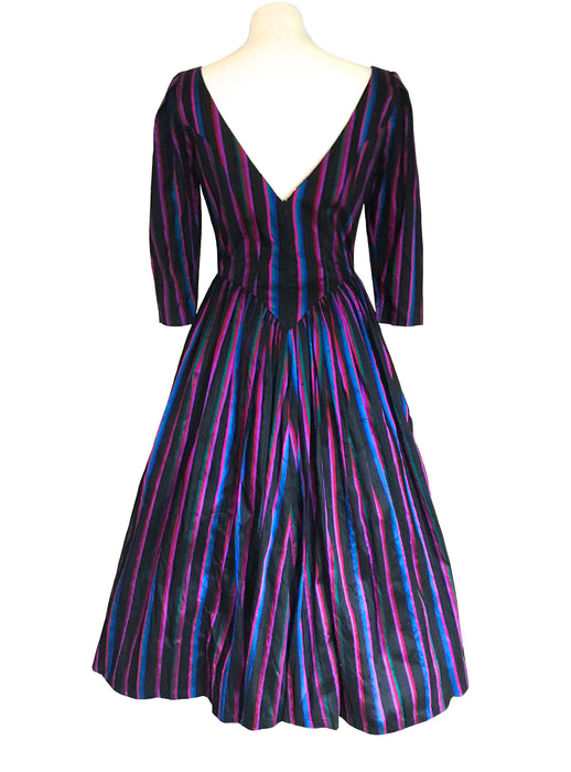 80s does 50s Purple Blue Red Silk Ball Gown, Steampunk Monsoon Twilight Striped Medieval Goth Dress, Mardi Gras Evening Party Swing Dress