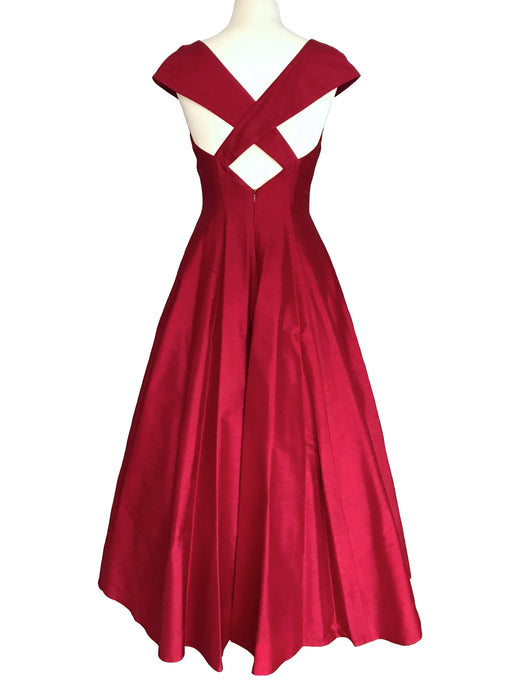 80s does 50s Cherry Red Silk Ball Gown, Valentine's Day Xmas New Year Monsoon Twilight Circle Dress, Occasion Evening Prom Party Swing Dress