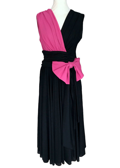 80s Hot Pink Black Plunging Party Dress, Cocktail Sheath Bow Trim Midi Dress, Wrap Draped Sleeveless Prom Occasion Wedding Guest Glam Dress
