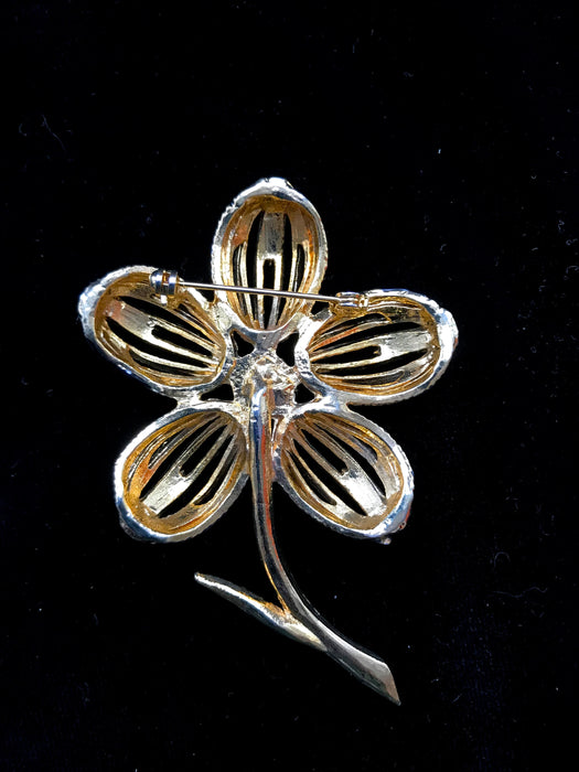 Vintage HUGE flower black enamel clear rhinestones Goldtone Lapel Scarf Shawl Brooch Pin, Statement Bridal Wedding Brooch, Mother's Day gift