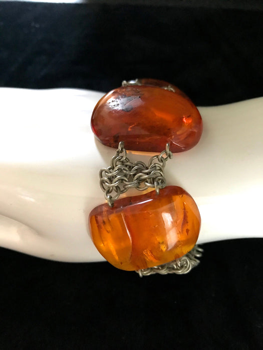 RARE 70s Genuine Baltic Amber Bold Cabochon Chain Bracelet Former USSR, Egg Yolk Honey Amber Bracelet Prom Xmas Wedding Mother's Day Gift