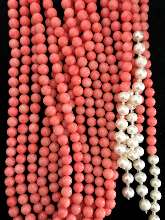 South Sea Salmon Corals & Pearl Flapper Rope Lariat 3 Strand Necklace, Wedding Bridal Long Coral Necklace, Prom Mother's Day Gift Flapper