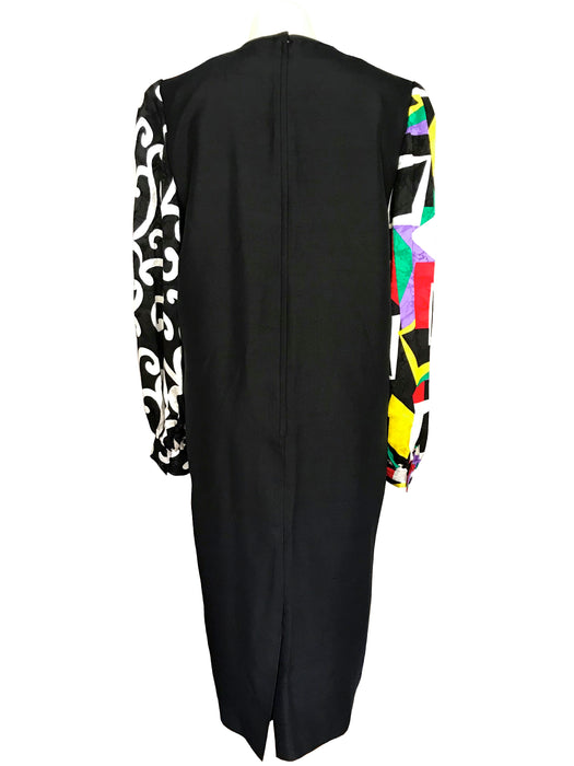 80s Anne Crimmons 100% Silk Black & Pop Art Print Multicolour Shift Cocktail Party Dress, Xmas New Year Party Mardi Gras Carnival Dress LBD