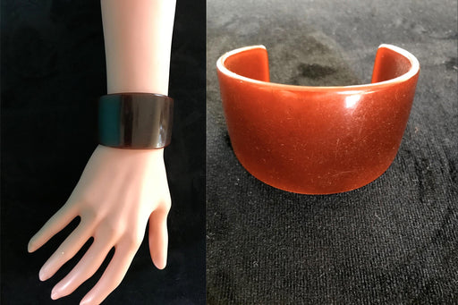 Art Deco Extra Wide Genuine Bakelite Cuff Bracelet, Translucent Russet Nut Brown Cherry Red Change of Colour RARE Bracelet Tested Authentic