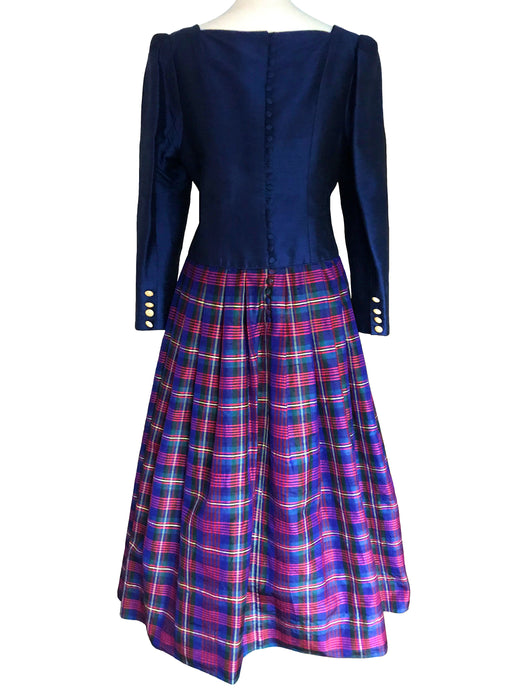 80s Silk Navy Blue Red Yellow Tartan Dress, Plaid Check Sweetheart Shirtwaist Button Down Xmas Mardi Gras Dress Size L, Bow Trim Custom Made
