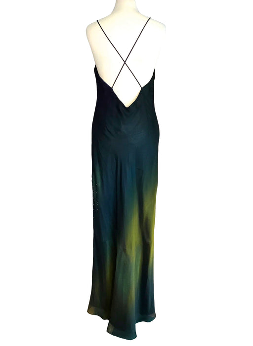 90s does 30s Sheer Chiffon Ombre Bias Cut Dress, Backless Cross Over Straps Beaded Open Low Back Dress, Prom Mardi Gras Evening Ball Gown