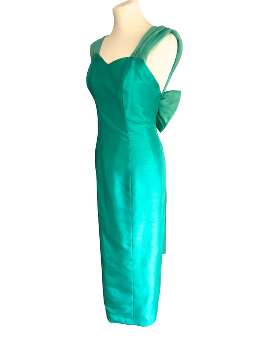 60s Silk Green Blue Turquoise Back Train Dress, MOD Sheath Big Bow Train Prom Cocktail Evening Ball Gown, Cut Out Back Silk & Chiffon Dress