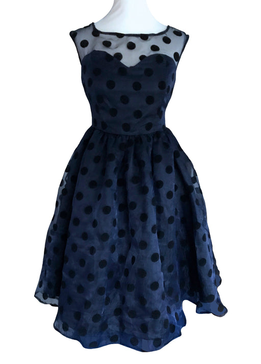 50s Style Sheer Polka Dot Party Dress, Midnight Blue Flock Spot Sweetheart Full Skirt Swing Prom Party Cocktail Occasion Evening Xmas Dress