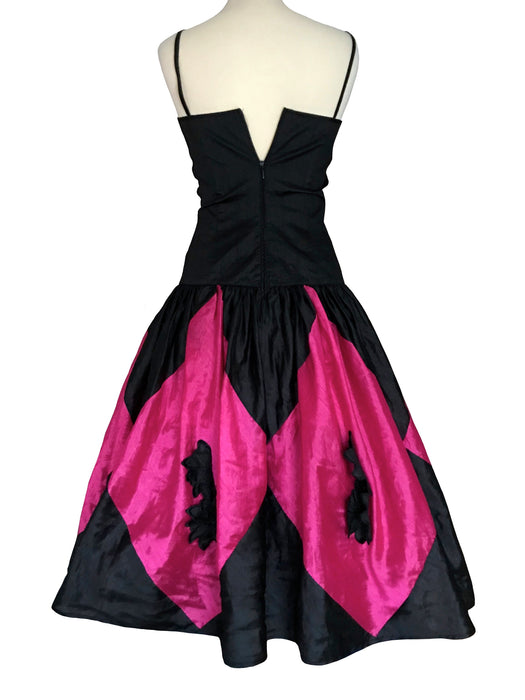 80s Hot Pink & Black Party Dress, Harlequin Diamond Applique Frill Trim Spaghetti Strap Puff Ball Skirt Prom Mardi Gras Cocktail Xmas Dress