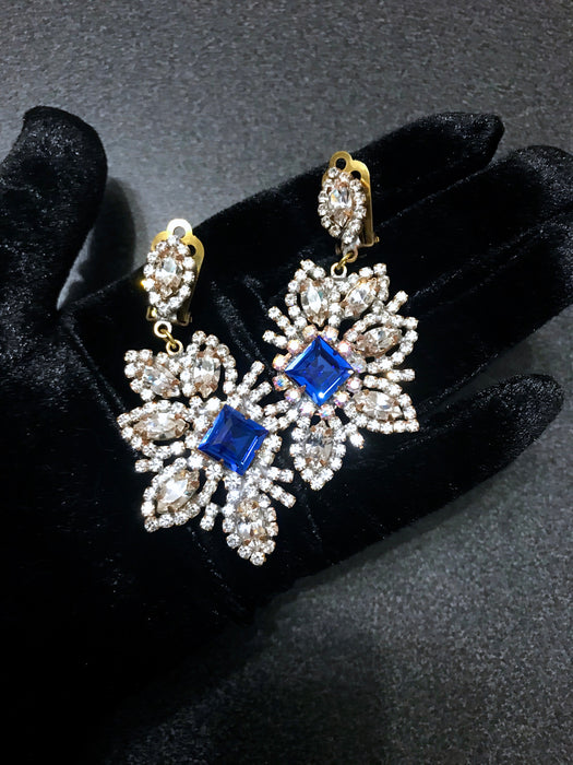 Old Czech Crystal Glass Sapphire Blue Earrings, HUGE Aurora Borealis Clear Rhinestone Handmade Dangle Czechoslovakia Jablonec Clip Earrings