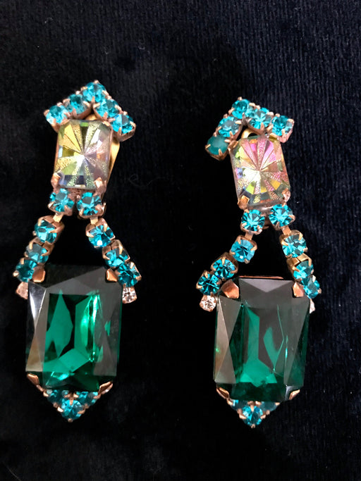 Old Czech Emerald Green Crystal Earrings, HUGE Drop Dangle Watermelon & Blue Rhinestone Handmade Clip On Earrings Czechoslovakia Jablonec