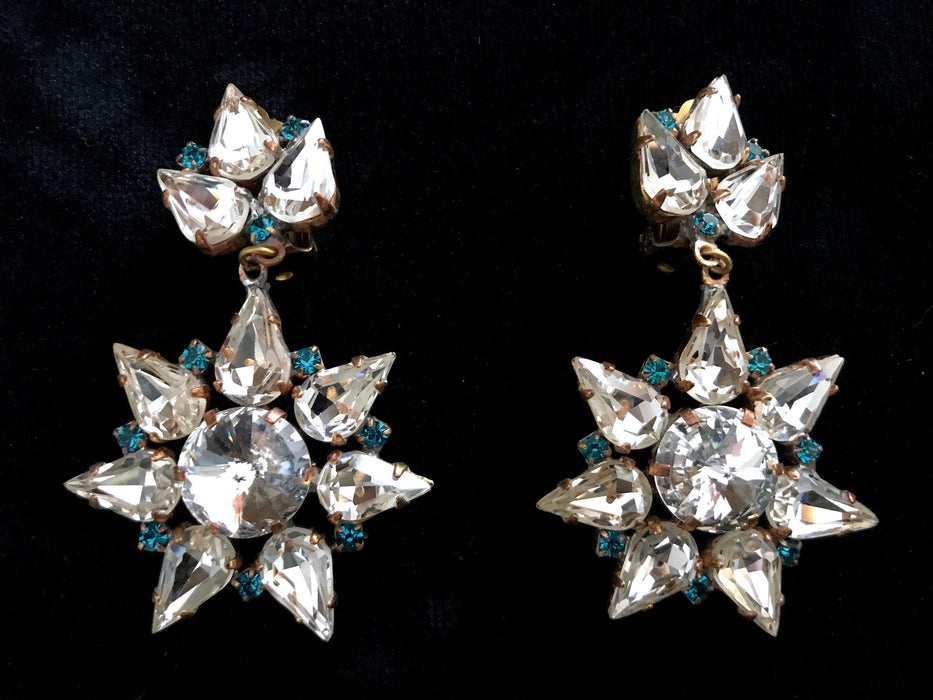 Old Czech Diamante Crystal Glass Earrings, Star Snowflake LARGE Blue Rhinestone Handmade Drop Dangle Clip Czechoslovakia Jablonec Earrings