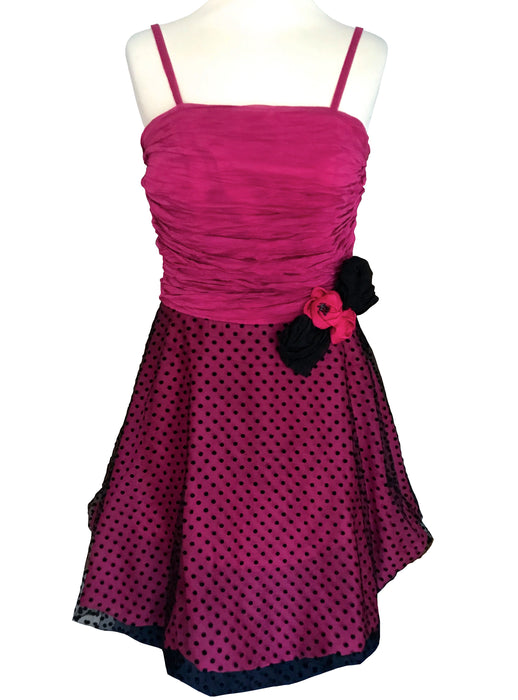 80s Neon Pink Polka-Dot Black Tulle Party Dress, Prom Cocktail Evening Ruched Bodice Sheath Knee-Length Dress, Rosettes Trim Princess Dress