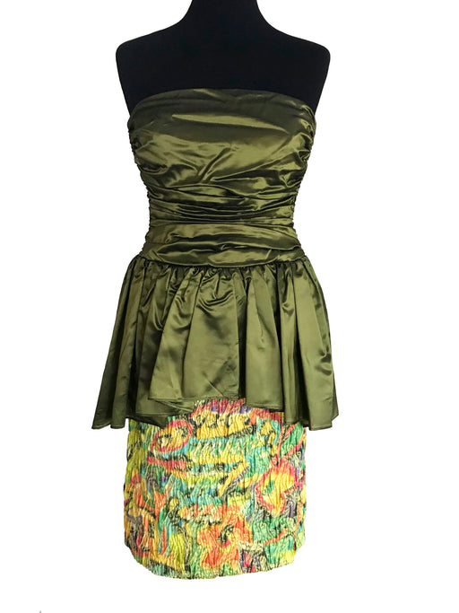 80s does 40s Olive Green Satin Peplum Dress, Wiggle Sheath Strapless Cocktail Party Evening Multicolor Dress, Prom Shimmer Two Piece Dress