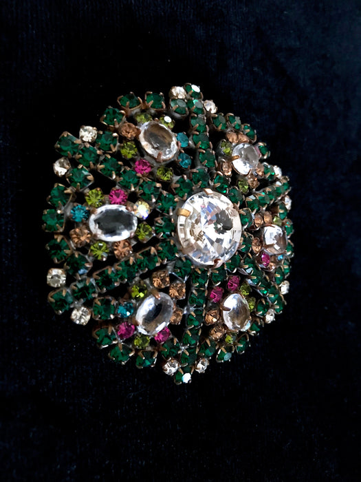 Old Czech Large Crystal Glass Brooch, Emerald Green Peridot Pink Blue Amber Rhinestones Handmade Mardi Gras Carnival Easter Lapel Scarf Pin
