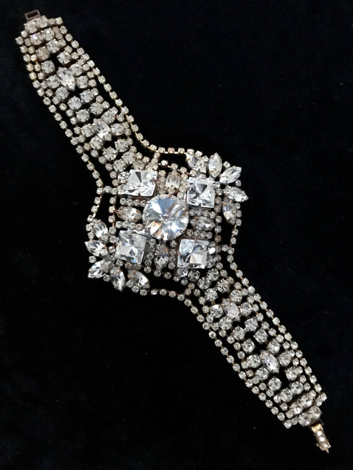Art Deco Style WIDE Crystal Glass Bracelet, Old Czech Easter Wedding Bridal Clear Rhinestone Link Bracelet, Evening Prom Ball Party Bracelet