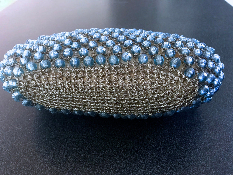 50s-60s Blue Crystal Glass Evening Bag, Silver Metallic Crochet & Faceted Glass Beads Top Handle Handbag, Prom Mother's Day Easter Gift Bag
