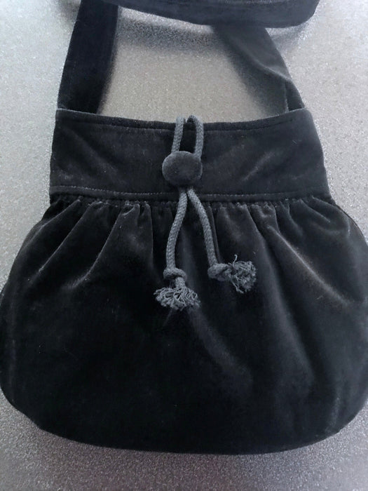 80s-90 Black Velvet Hobo Crossbody Bag, Boho Hippie Grunge Gothic Black Sack Hand Bag, Prom Party Velvet Handbag, Street Style Shoulder Bag