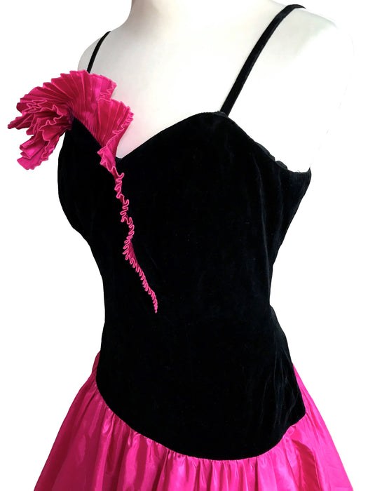 80s Black Velvet & Hot Pink Satin Dress, Plisse Frill Trim Spaghetti Strap Prom Mardi Gras Carnival Cocktail Party Xmas Swing Pin Up Dress