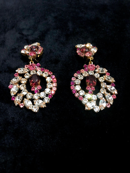 Old Czech Crystal Glass Pink Purple Earrings, HUGE Coral Clear Rhinestone Handmade HUSAR.D Drop Dangle Clip Czechoslovakia Jablonec Earrings