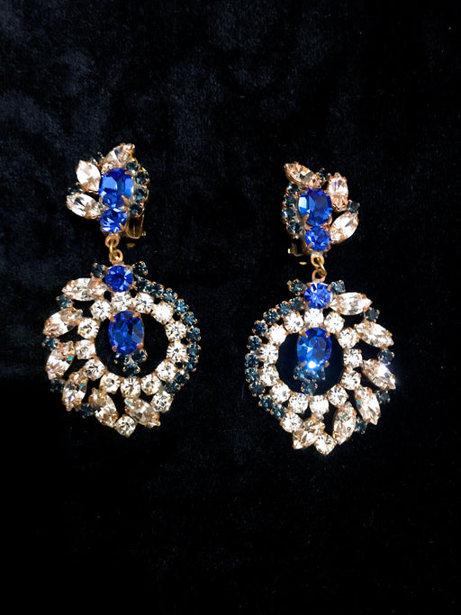 Old Czech Crystal Glass Sapphire Blue Earrings, HUGE Cleat Rhinestones Handmade Drop Dangle Clip On Czechoslovakia Jablonec Prom Earrings