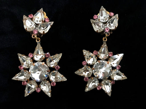 Old Czech Diamante Crystal Glass Earrings, Star Snowflake LARGE Pink Rhinestone Handmade Drop Dangle Clip Czechoslovakia Jablonec Earrings