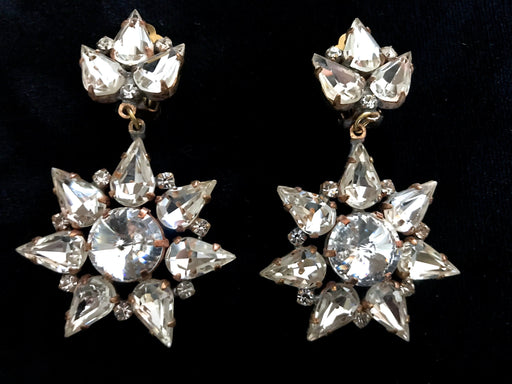 Old Czech Diamante Crystal Glass Earrings, Star Snowflake LARGE Clear Rhinestone Handmade Drop Dangle Clip Czechoslovakia Jablonec Earrings