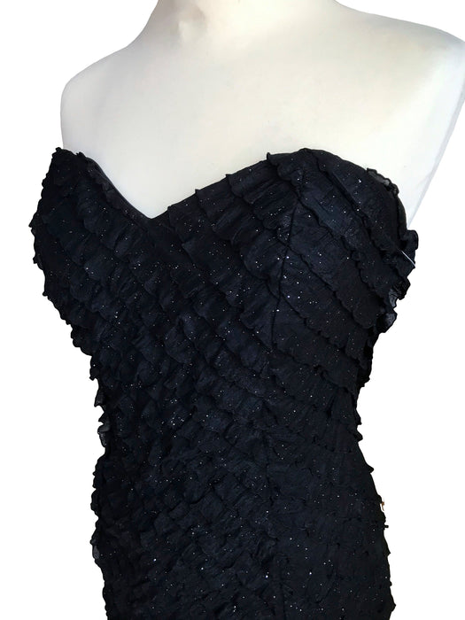 90s Black Stretchy All Frill Glitter Dress, Strapless Bodycon All Round Ruffle Little Black Dress LBD, Cocktail Party Prom Slip Sexy Dress