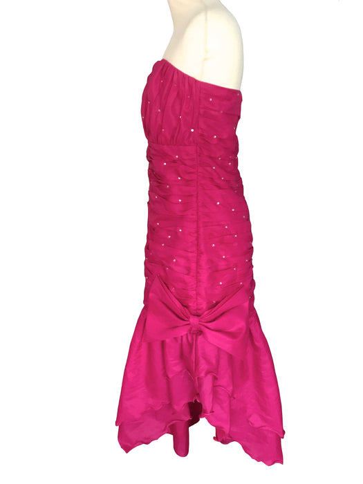 80s Pink Magenta Mermaid Rhinestone Glitter Dress, Taffeta Cocktail Party Ruched Bodice Sheath Strapless Sweetheart Prom Dress Ball Gown