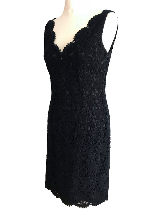 60s Style Cotton Lace Ann Tailor LBD, Cut Out Back Wiggle Sheath Cocktail Party Little Black Dress, MOD Bombshell Prom Sexy Sleeveless Dress