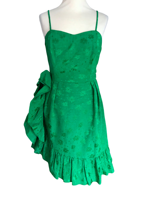 60s Sateen Emerald Green Frill Cocktail Dress, Boned Bodice Flower Pattern Summer Party Prom Xmas Easter St Pat's Day Sheath Bombshell Dress