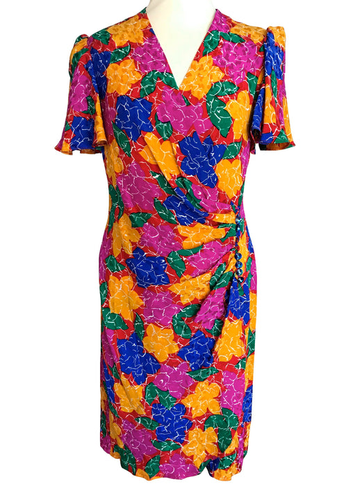 80s Silk Wrap Plunge Neck Cocktail Dress, Wiggle Sheath Gathered Waist Flute Sleeve Multicolour Floral Prom Party Wedding Guest Midi Dress