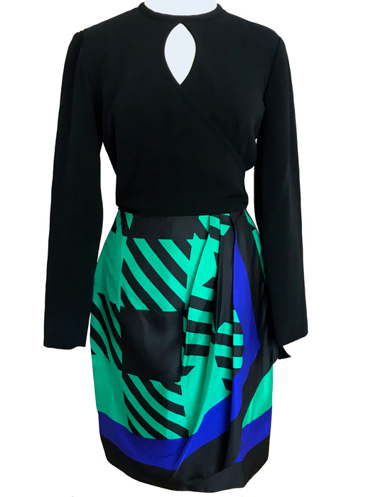 80s Bill Blass Color Block Wrap Dress, Silk Green Blue Black Handkerchief Geometric Print Skirt Keyhole Cocktail Party Occasion Sheath Dress