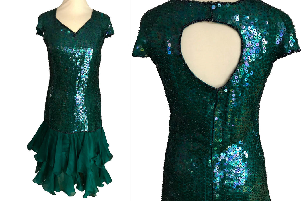 80s Silk Emerald Green Sequinned RA-RA Dress, Prom Beaded Cocktail Mardi Gras Xmas Dress, Cut Out Back Sheath Wiggle Disco Dance Party Dress