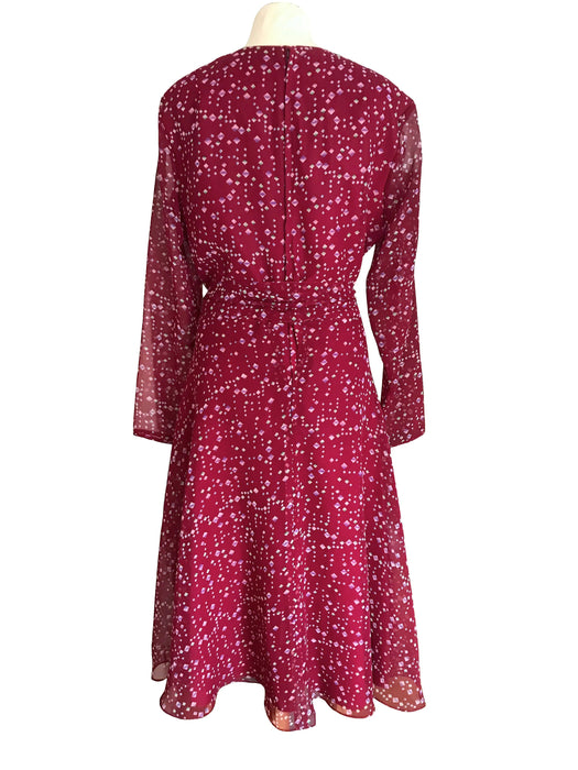 70s Jean Allen Raspberry Red Green Dress, Diamond Print Half Circle Flare Skirt Dress, Mid Century 50s PinUp Style Tea Cocktail Midi Dress M