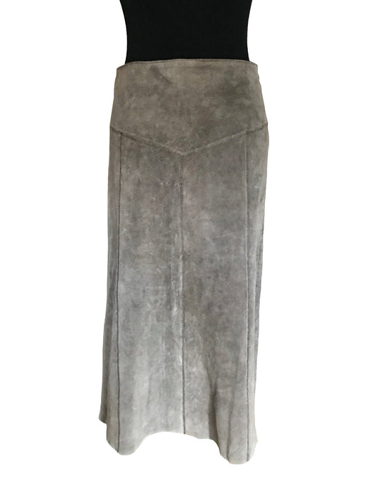 70s -80s Grey Brown Longline Suede Leather Skirt, A-Line Flared Fall Colour Street Style Boho Hippie Midi Skirt, Grunge Leather Skirt sz M