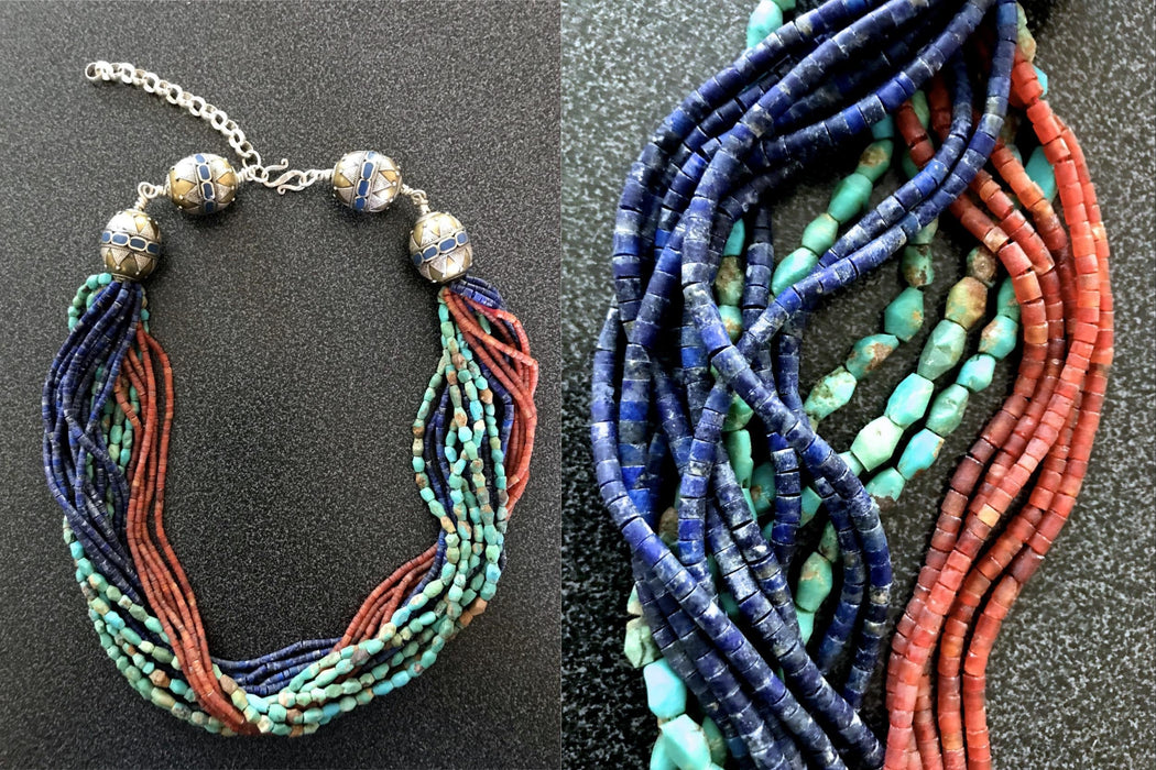 825 Silver Lapis Coral Turquoise Torsade Necklace, Gemstone Semi-Precious Stone Statement Multi Strand Indian Tribal Tibetan Gypsy Choker
