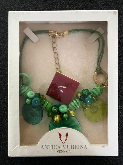 Green Murano Glass 24kt Gold Leaf Necklace, Hand Blown Golden Layered Green Gold Bib Charm Necklace, Prom Wedding Mother's Day Gift Necklace