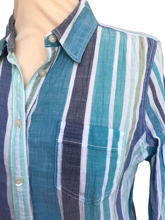 90s Blue Green White Cheesecloth Shirt, 70s Style Hippie Lightweight Cotton Gauze Button Collared Blouse Shirt, Summer Nautical Ladies Shirt
