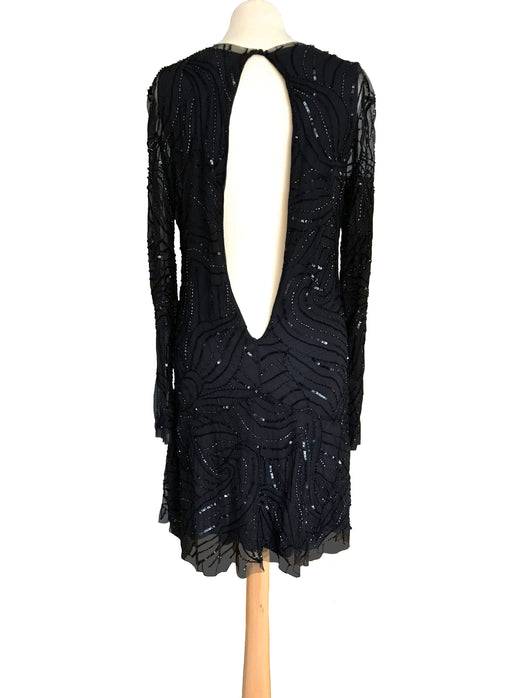 Antik Batik Black Silk Mesh Sequin Dress, Backless LBD Party Cocktail Prom Dress, Sheer Rainbow Beaded Mesh Shift Sheath Flapper Sexy Dress