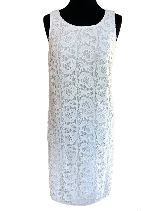 60s MOD Style Cotton Lace Little White Dress, Wiggle Sheath Cocktail Party Summer Dress, Bombshell Prom Sexy Sleeveless Wedding Races Dress