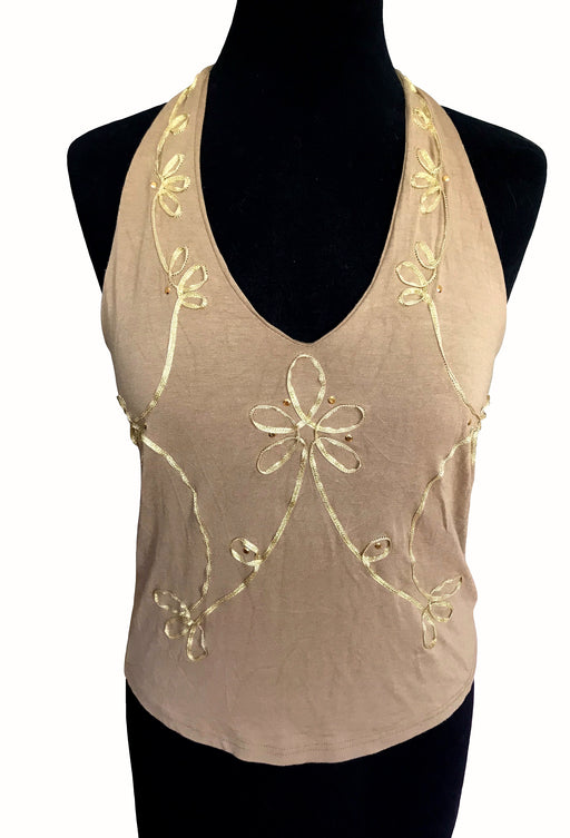 90s Caramel Beige Halter Top, Golden Embellished Open Low Back Tank Top, Summer Beach Tropical Vacation Cruise Party Sexy Boho Hippie Top