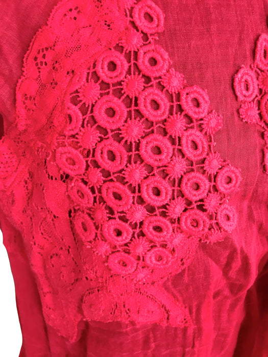 Vanessa Bruno Lace Appliqué Red Cotton Top, Sheer Cotton Voile Gypsy Boho Festival Sleeveless Top, Layered Frill Summer Parachute Top Blouse