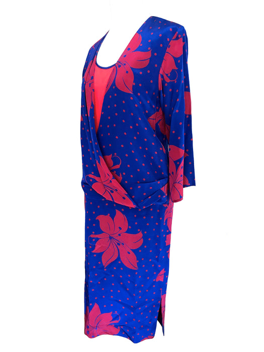 80s does 20s Silk Flapper Blouson Dress, Red Blue Floral Hibiscus Tropical Print Faux Wrap Dress, Wedding Guest Cocktail Party Gatsby Dress